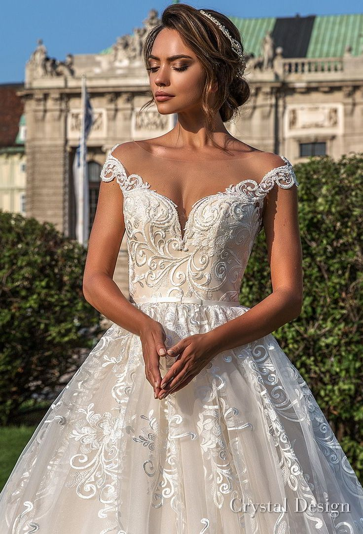 crystal design 2018 cap sleeves sweetheart neckline full embellishment romantic princess ball gown wedding dress sheer button back chapel train (steffani) zv -- Crystal Design 2018 Wedding Dresses