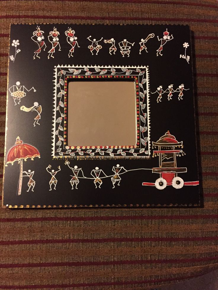 Warli painting on ikea mirror