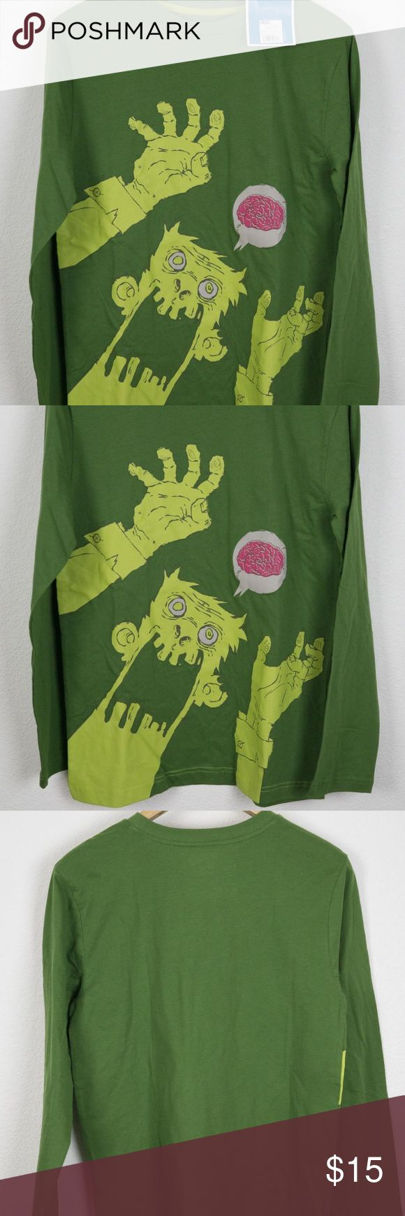 Zombie Brains TShirt Kids XL Long Sleeve Circo New with tags  Brand Circo  Material 100% Cotton  Color Green    Measured lying flat in inches  Tagged Size XL See below for actual measurements  Chest 38 underarm to underarm - doubled  Length 28 top of shoulder to bottom hem  Shoulders 17 shoulder seam to seam   Sleeve Length 25 shoulder seam to cuff end Circo Shirts & Tops Tees - Long Sleeve