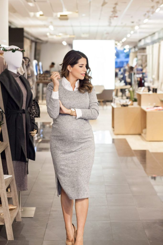 The Corporate Catwalk Style Meets Comfort for the Holidays. Grey knit midi sweater dress+white shirt+nude pumps. Fall Casual Business Outfit 2016