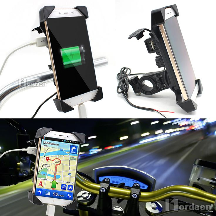 Universal Motorcycle Charger Handlebar Mount Phone Holder 12V USB Charger Bike Phone Charger Holder For Honda Yamaha Kawasaki