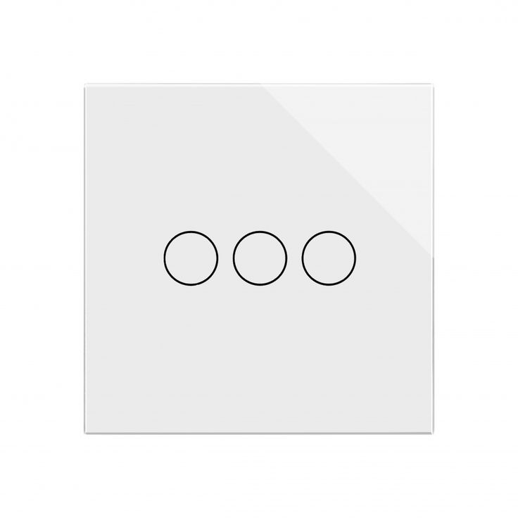 Crystal Glass 3 Gang Touch Light Switch White
