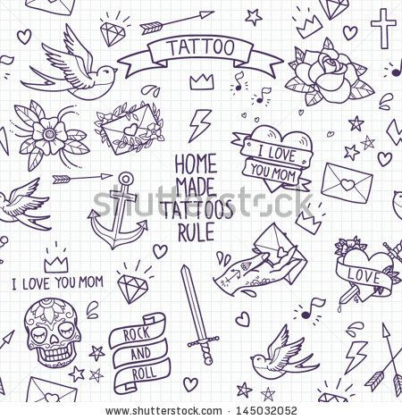 Old school tattoo seamless pattern. Cartoon tattoo elements in funny style:anchor, dagger, skull, flower, star, heart, diamond, scull and sw...