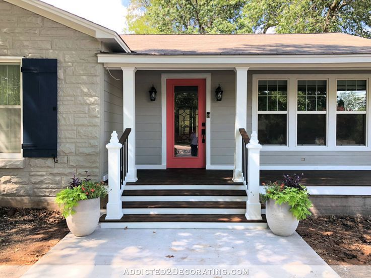 Before After Front Porches House One In 2020 Front Porch Steps Front Porch Design Porch Design