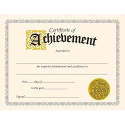 Certificate of Achievement. Get ready for end of year #awards! These certificates feature dignified designs for upper grades and adults. Printer compatible. Pack of 30.