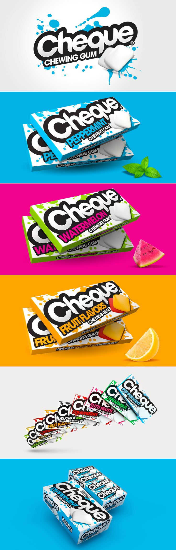 Cheque Chewing Gum Packaging designed by Design Happy, a strategic packaging & branding design agency based in Kingston Upon Thames, UK. http://www.designhappy.co.uk