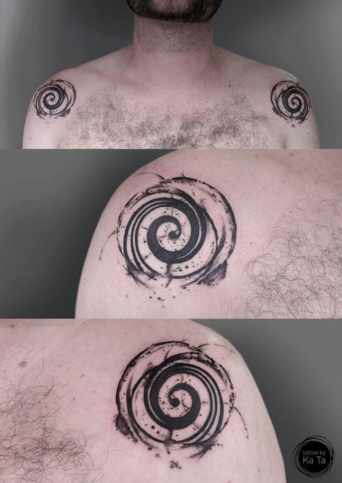 swirling around. shoulder tattoo. tattoobykata@gmail.com