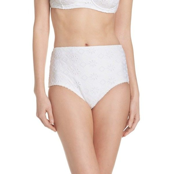 Women's Kate Spade New York Half Moon Bay High Waist Bikini Bottoms ($85) ❤ liked on Polyvore featuring swimwear, bikinis, bikini bottoms, white, white bikini, white high waisted bikini bottoms, high rise bikini bottoms, highwaisted bikini bottoms and high-waisted swimwear
