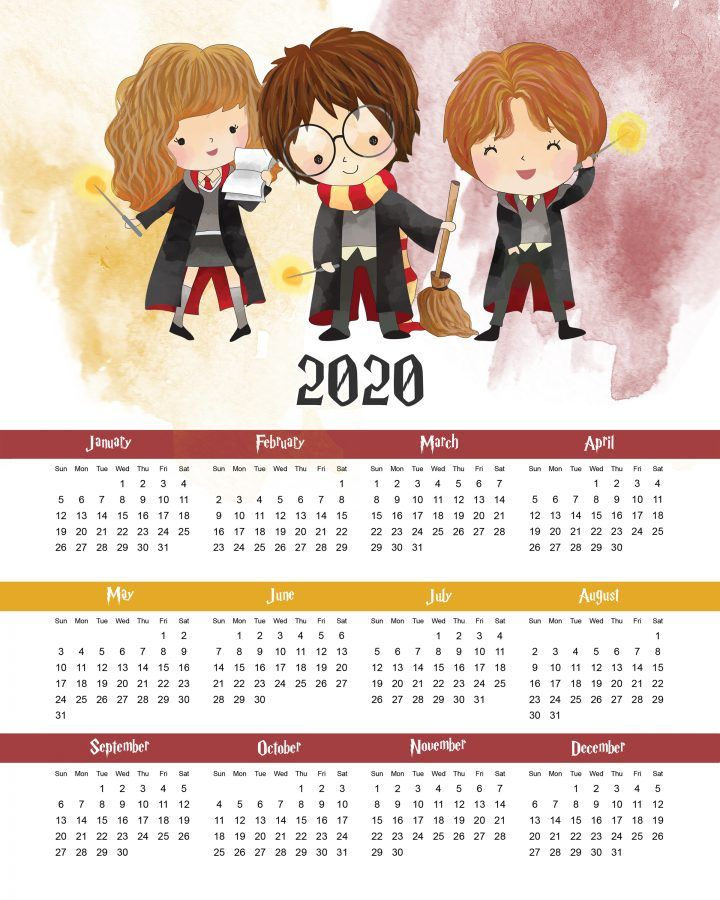 Free Printable 2020 Harry Potter One Page Calendar Harry Potter