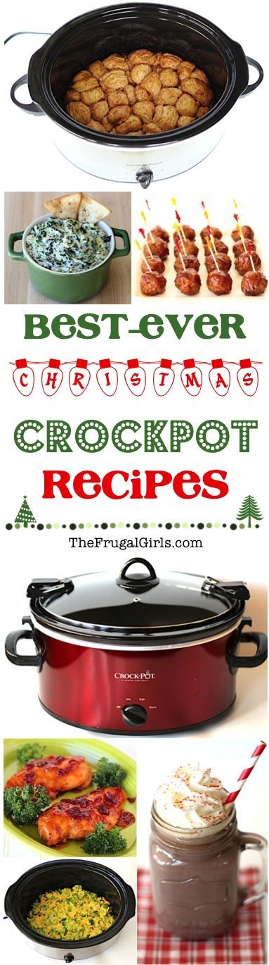 Crockpot Christmas Recipes! ~ from TheFrugalGirls.com ~ HUGE list of easy and delicious recipes for Holiday Brunch, Appetizers, Dinner, Drinks and Dessert! Sit back, relax, and let your Crock Pot do the work!