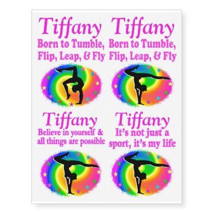 PRETTY RAINBOW CUSTOM GYMNASTICS TATTOOS - girl gifts special unique diy gift idea