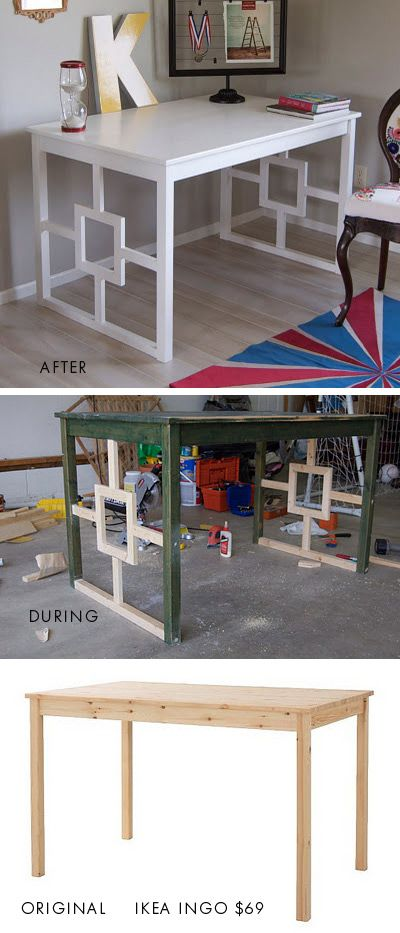DIY - Desk Makeover: Desks Makeovers, Ikea Dining Table, Diy Desks, Tables Desks, Ikea Tables, Ikea Hacks, Desks Ideas, Table Desk, Dining Tables