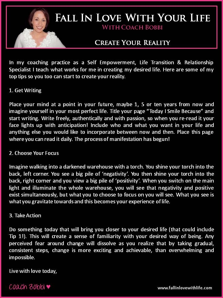Create Your Reality  © Ask Coach Bobbi