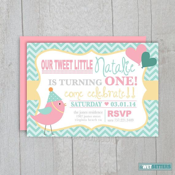 Little Bird Birthday Invitation Pink Teal by lilWETSETTERS, $10.00