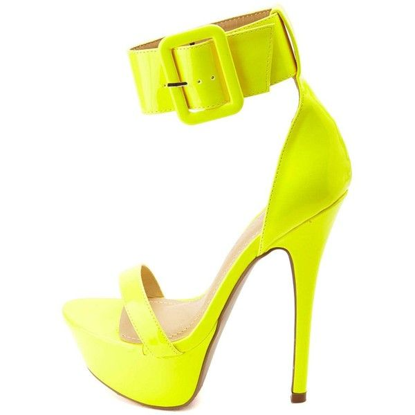 Charlotte Russe Neon Single Strap Uber-Platform Heels (400 MXN) ❤ liked on Polyvore featuring shoes, pumps, heels, neon yellow, neon platform pumps, platform pumps, sexy pumps, buckle shoes and charlotte russe shoes