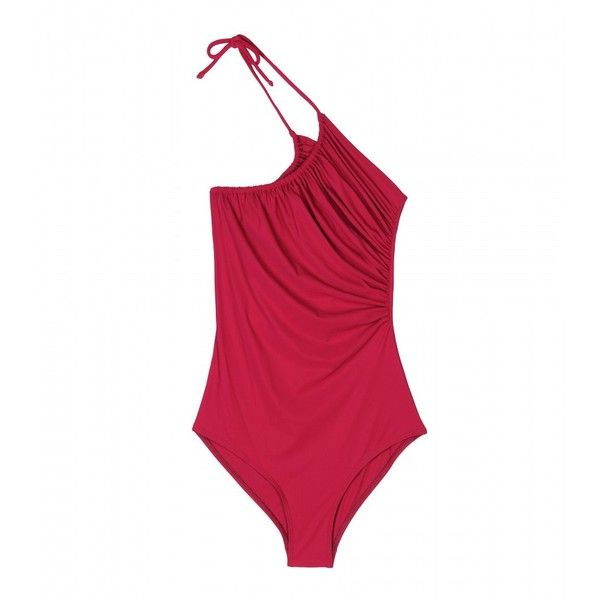 Lanvin One-Shoulder Ruched Bathing Suit ($335) ❤ liked on Polyvore