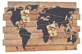 Nostalgie Wandbild - Weltkarte - Deko Wandobjekt Holz Schild Weltatlas m. Klammern   Wohnideen, Dekoideen im Landhausstil