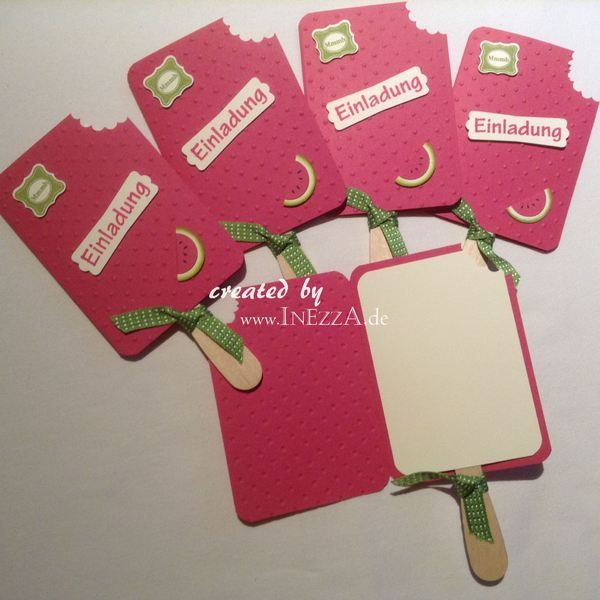 Einladungskarte Eis Am Stiel Melone Von INEZZA   Geschenkestübchen Auf  DaWanda.com