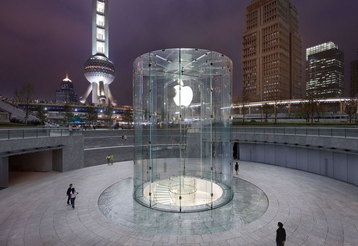 Apple Store in China-- Architect: Bohlin Cywinski Jackson-- entrance is a large glass cylinder 32 ft. high