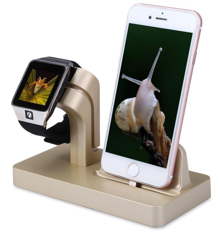 2 en 1 Sostenedor del Soporte de Exhibición de la Cuna Del Muelle Del Cargador de Carga Para iphone 6 6 s 5 5S sí para apple watch muelle de carga estación