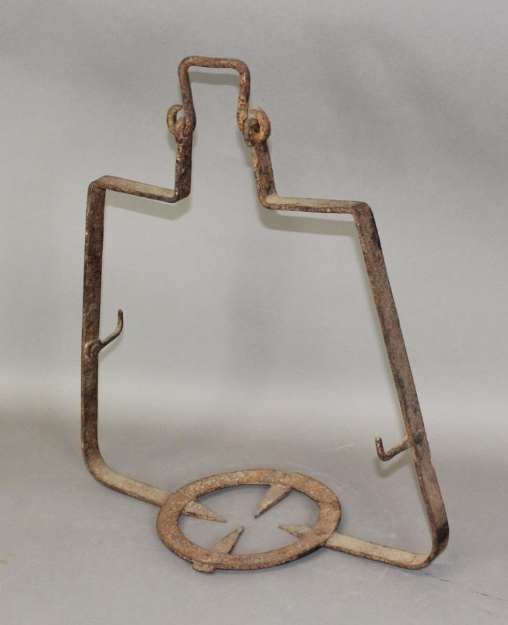 18th C Wrought Iron Hanging Kettle Or Pot Warmer With Rare