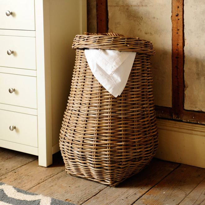 laundry basket, bedroom, wicker basket, woven basket
