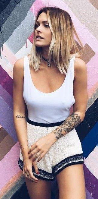 BW Cozy Knitted Shorts + White Tank | Caroline Receveur