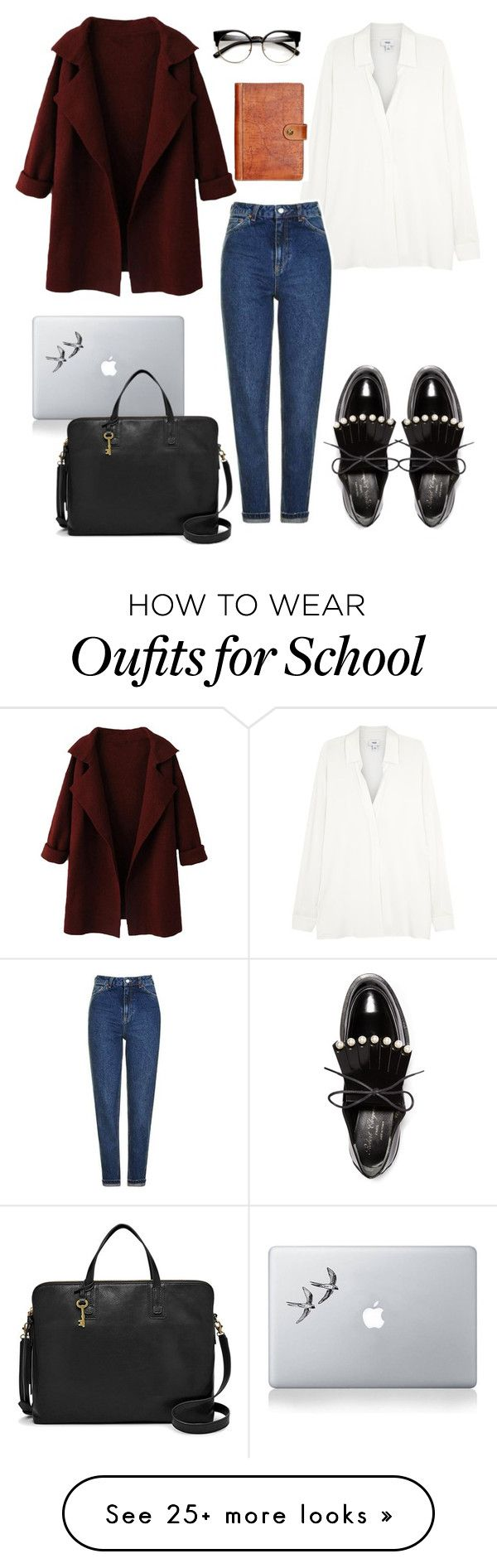 """""""School"""" by martariri on Polyvore featuring Vince, Topshop, Robert Clergerie, Patricia Nash, Vinyl Revolution and FOSSIL"""