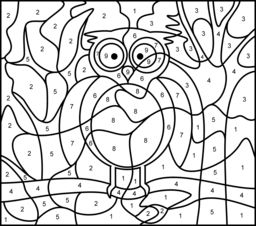 Hard Color by Number Pages | Owl - Printable Color by Number Page - Hard