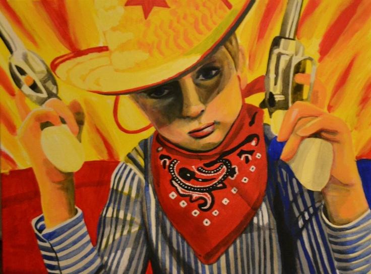 """Cowboy Kid"" acrylic painting on canvas © 2012 by artist, Heather Froman; www.heatherfroman.com; www.facebook.com/HeatherFromanArt"
