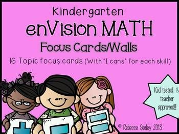 "Focus Wall and Essential Questions for enVisions Math:  Each topic has an ""I can"" for each skill covered in that topic.   Kid friendly language and great for focus walls!!  For Pearson's 2012 enVisions Math curriculum."