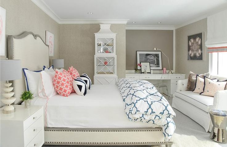 White and gray bedroom with desk nook
