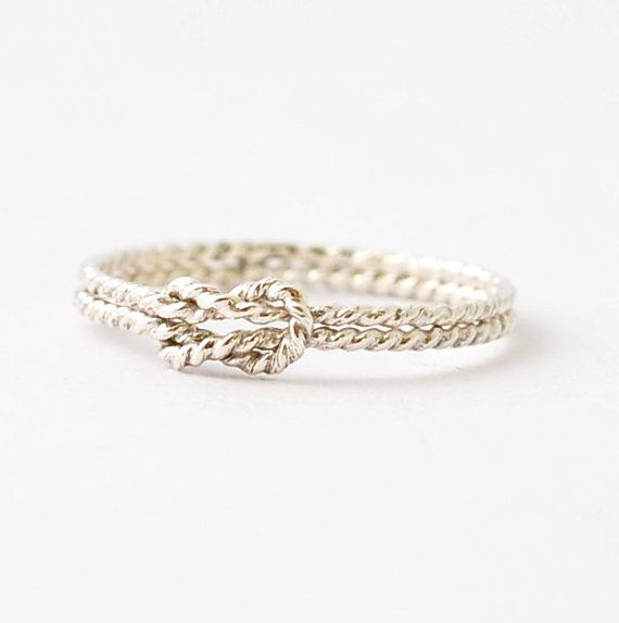 Nautical Rings: Silver Sailors Knot Ring, Promise Ring for Best Friends