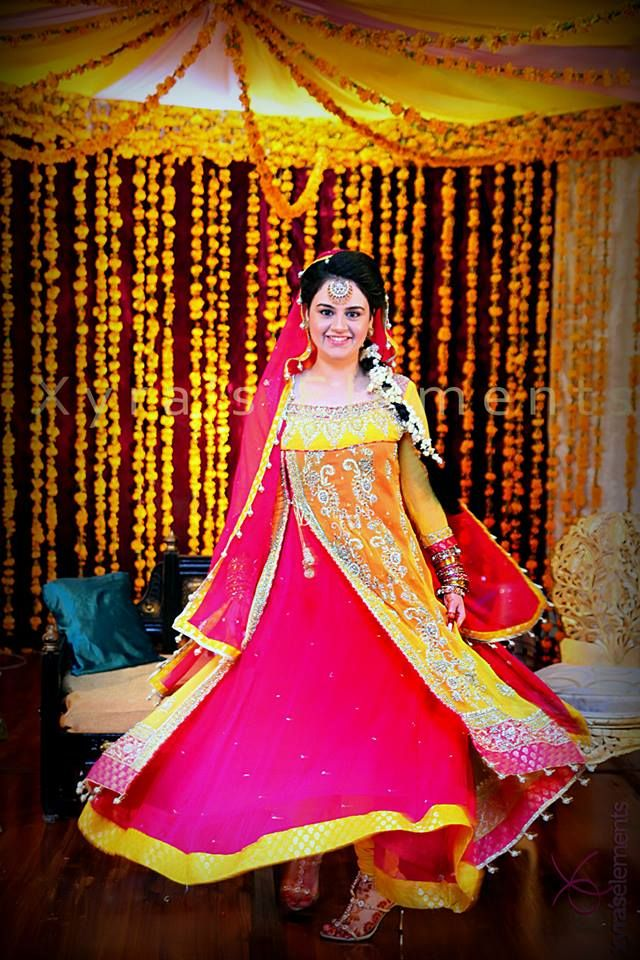bridal mehndi dresses pink and yellow color,bridal mehndi frocks,bridal mehndi dresses 2013 sharara style,mehndi dresses for online buying
