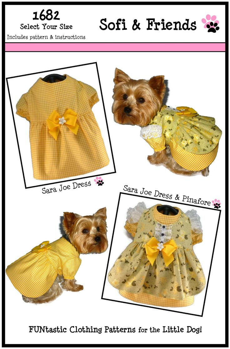 286 best sofi friends patterns images on pinterest factory dog clothes sewing pattern 1682 sara joe dress pinafore for the little dog 825 jeuxipadfo Image collections