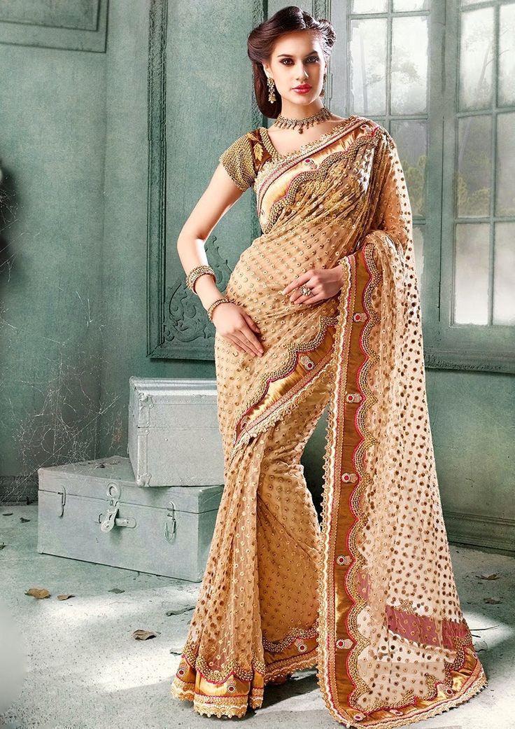 Beige Color Net Saree - Rs. 3075.00