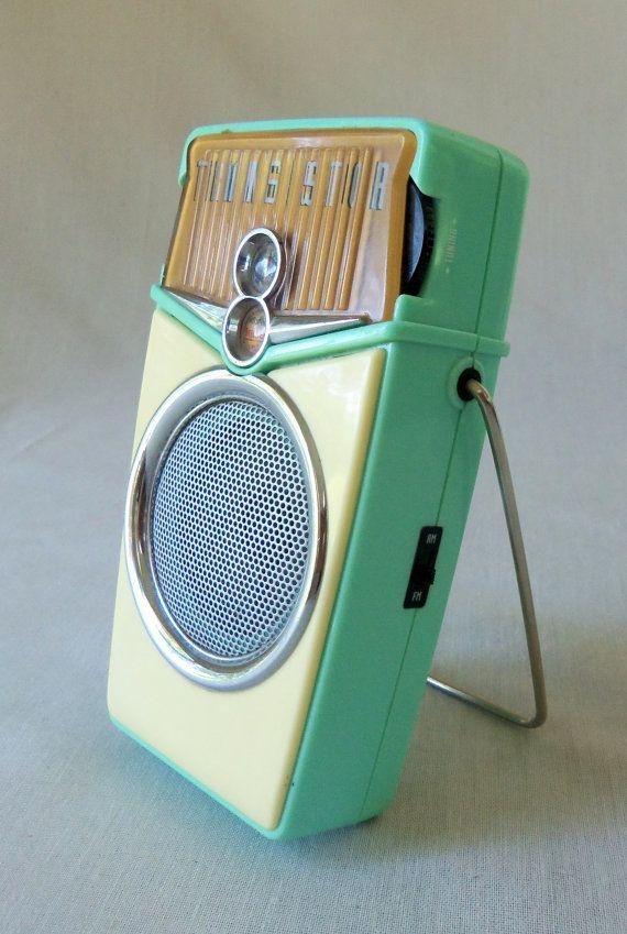 Retro Beach Boy AM FM Transistor Radio Aqua by BeeHavenHome, $38.00