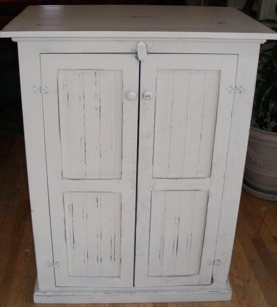 Cabinet, storage, antique white, distressed, shabby chic on Etsy, $395.00 - 28 Best Storage Ideas Images On Pinterest