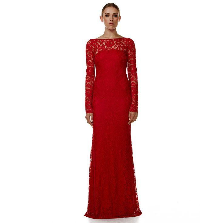 Clare De Lune Red Lace Evening Dress