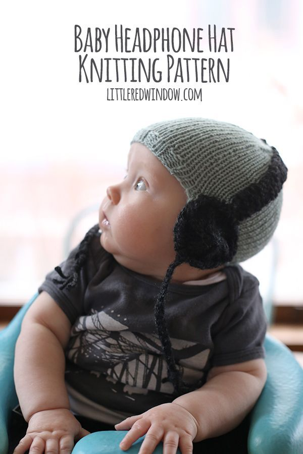 Knit Baby Headphone Hat free knitting pattern! | littleredwindow.com
