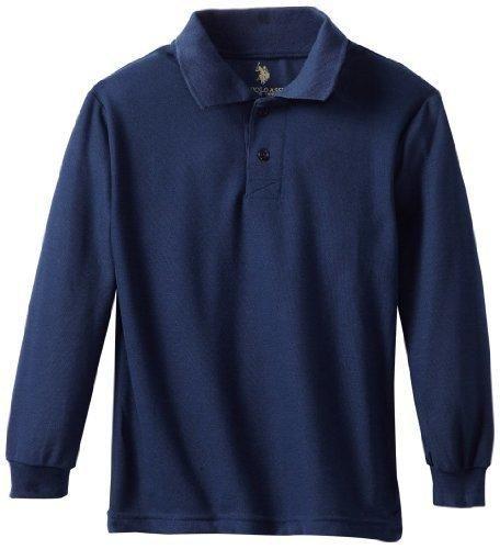 U.S. Polo Association School Uniform Big Boys' Long Sleeve Pique Polo ShirtNavyS(8)