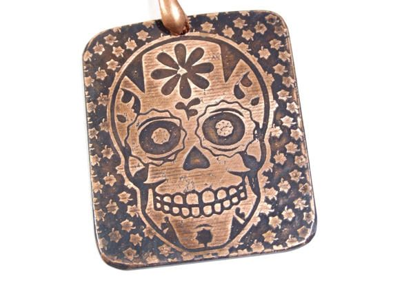 Candy Skull Day of the Dead pattern Design Copper Necklace Hand Crafted  Artisan Boho