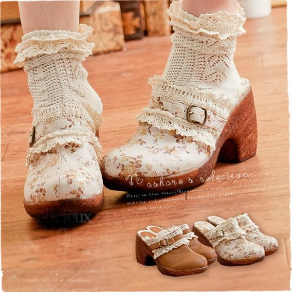 floral and lace design forest girl shoes (mori)