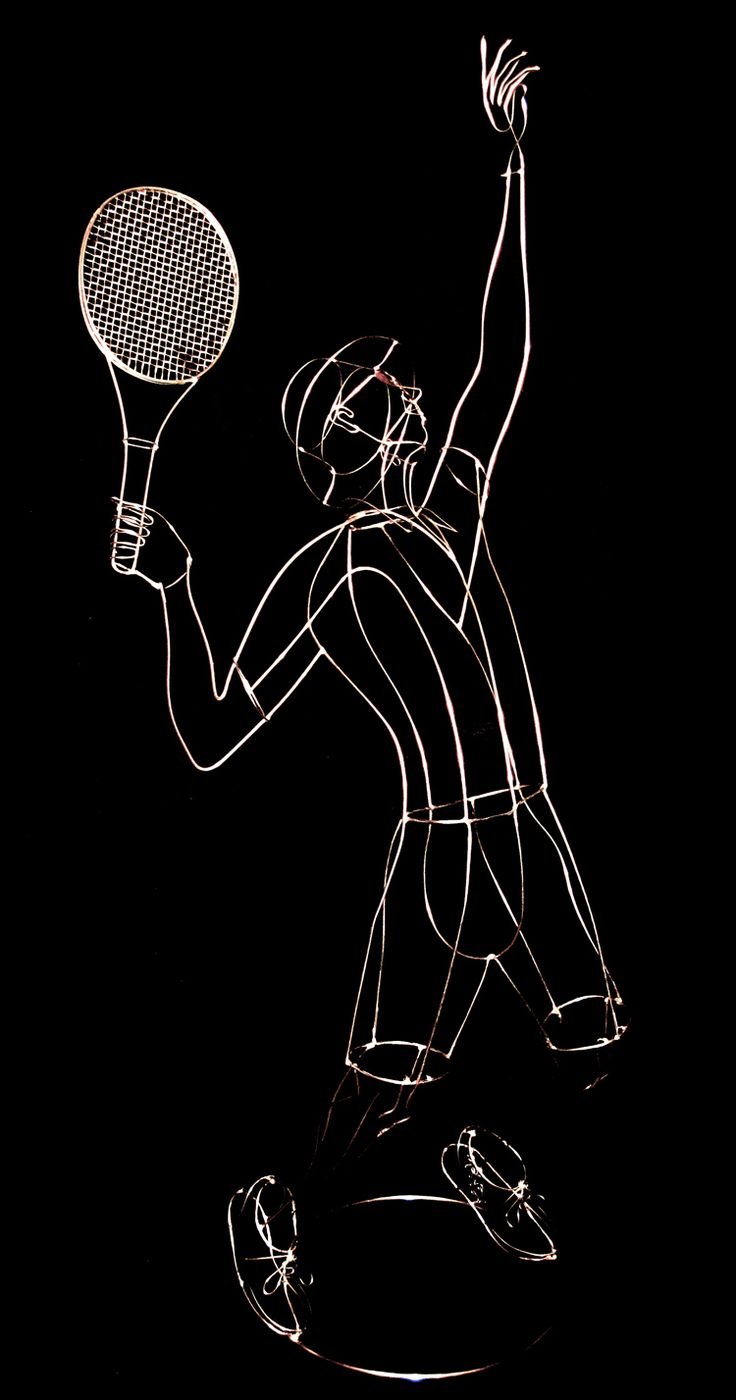 Rudy Kehkla's amazing tennis player creation using stainless steel wire and wire mesh.
