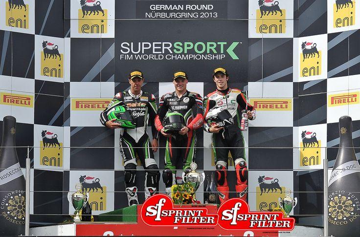 World Supersport Championship podium: FIRST: Sam Lowes - THIRD: Kevin Coghlan  Sprint Filter P08 air filter riders