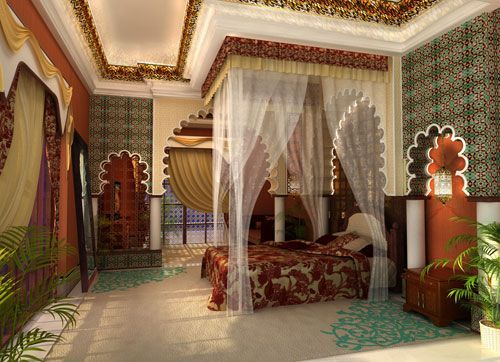A Luxury Moroccan Bedroom. #Luxury #Bedrooms #Decor.