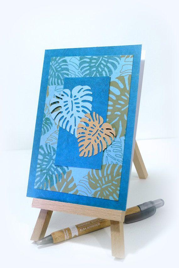 Handmade card Swiss cheese plant Botanical card by McRtyCards