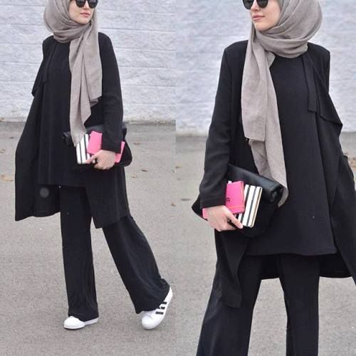 palazzo pants with hijab- How to style Adidas shoes with hijab http://www.justtrendygirls.com/how-to-style-adidas-shoes-with-hijab/