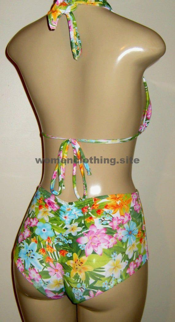 Halfter Bikini Tops hoch taillierte freche Scrunch Hintern Bikini Bottom Womens Bikinis Bademode   – Mode für Frauen