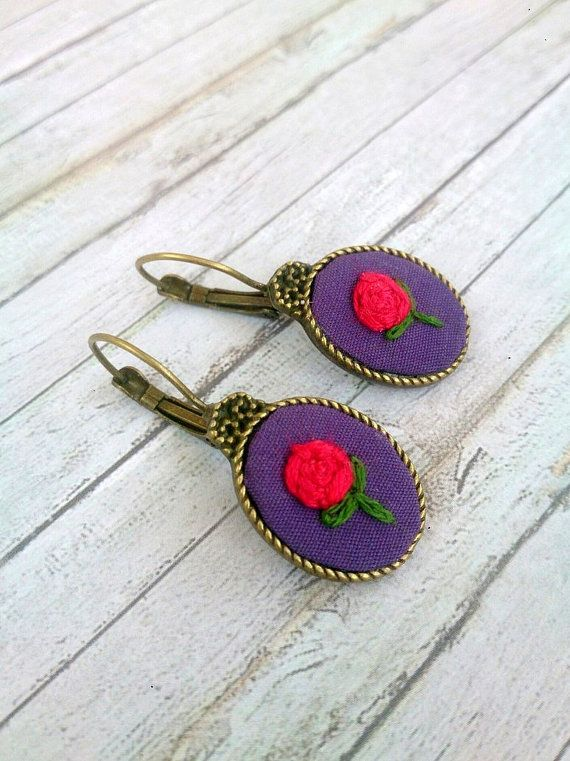 Gifts For Wife Part - 44: Anniversary Gift For Wife Birthday Gift For Her Fall Jewelry Flower  Embroideryu2026